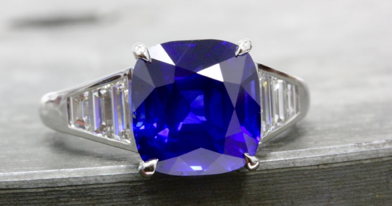 A magnificent 6.69 carat sapphire 'signed & cut' by the trades masters, Reginald C. Miller lapidaries and then mounted in a ring designed by Cushion Gem.