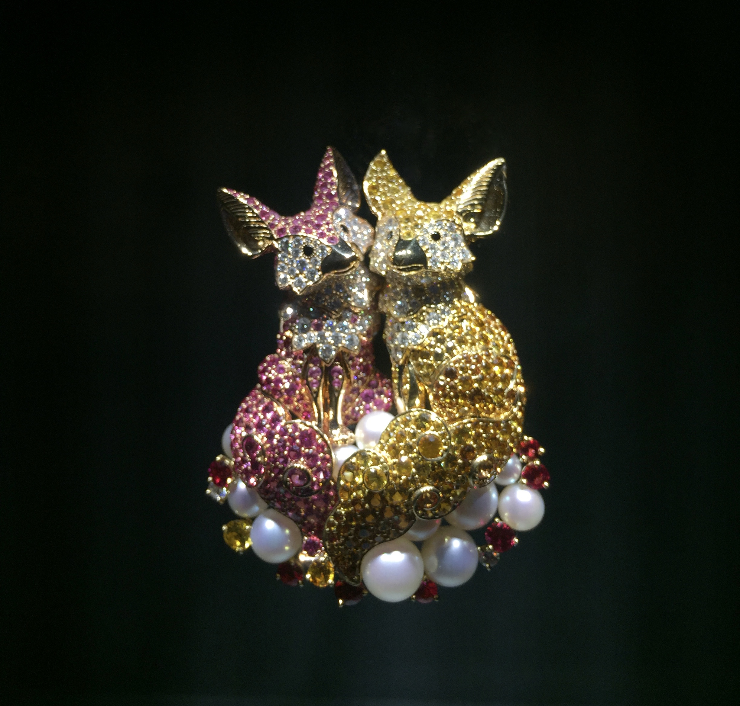 """Van Cleef and Arpels created this pair of bejeweled hyenas awash with precious gems for their """"Noah's Ark"""" exhibition featured in New York from November 3rd-19th, 2017."""