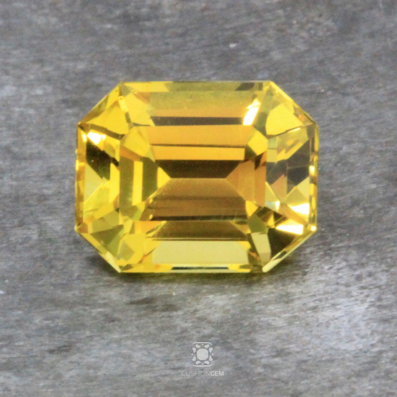 7.02 Emerald Cut Un-heated Yellow Sapphire