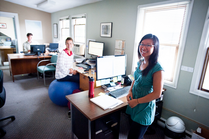 """Rainbow Choi, program manager at HOPE International Development Agency, lovingly referred to as """"Thunderbolt"""" by David, is helping with many projects overseas. At HOPE International office, New Westminster, BC, Canada on August-15-2013. Photo: Art Zaratsyan"""