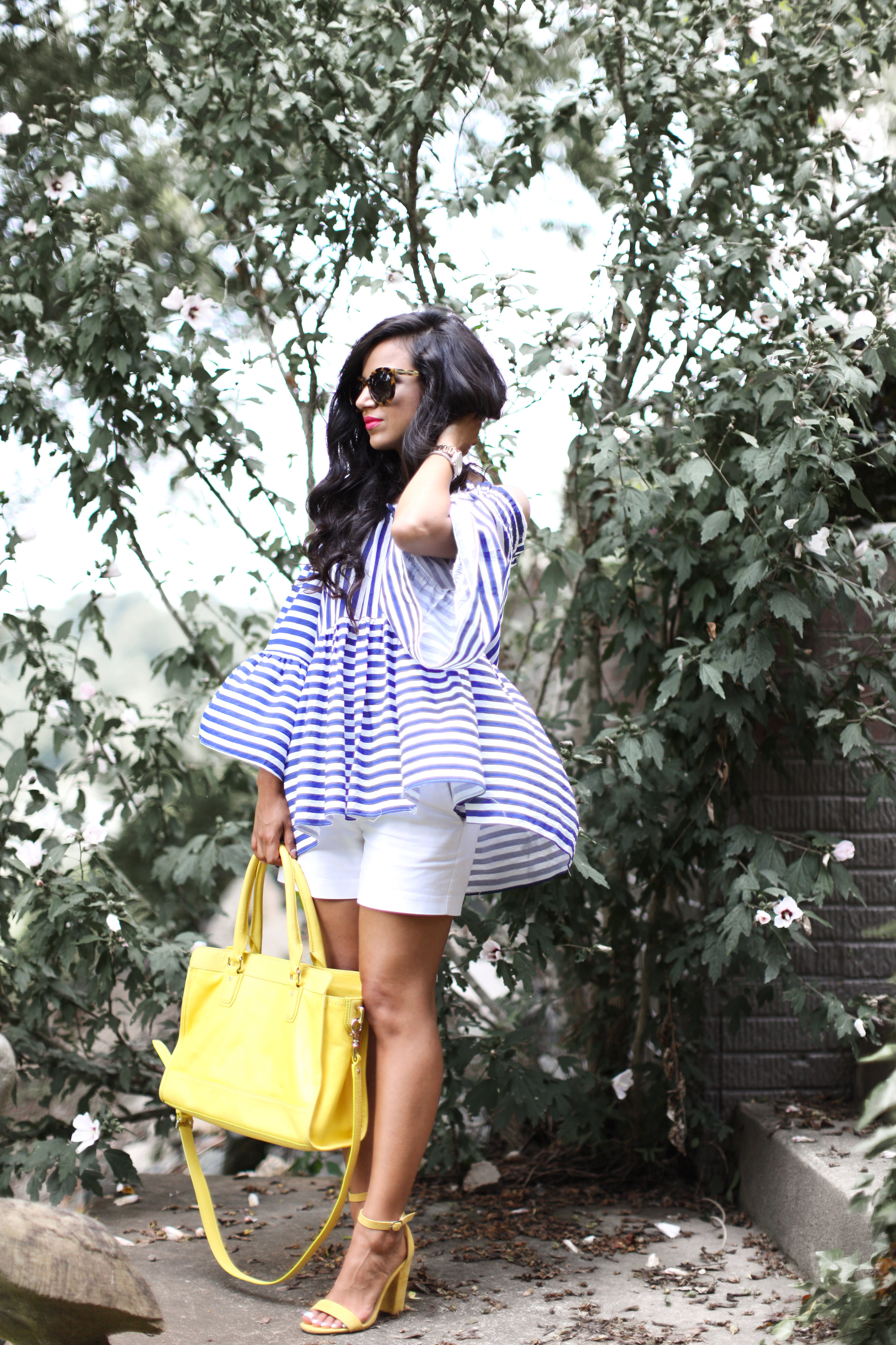OFF THE SHOULDER..YES PLEASE!!  - Every once in a while I will get this urge for pops of color and here you have it!TOP SHEIN: SIMILAR HERESHORTS: SHOP HERESHOES: SHOP HEREHANDBAG: SHOP HERESUNNIES: SHOP HERE