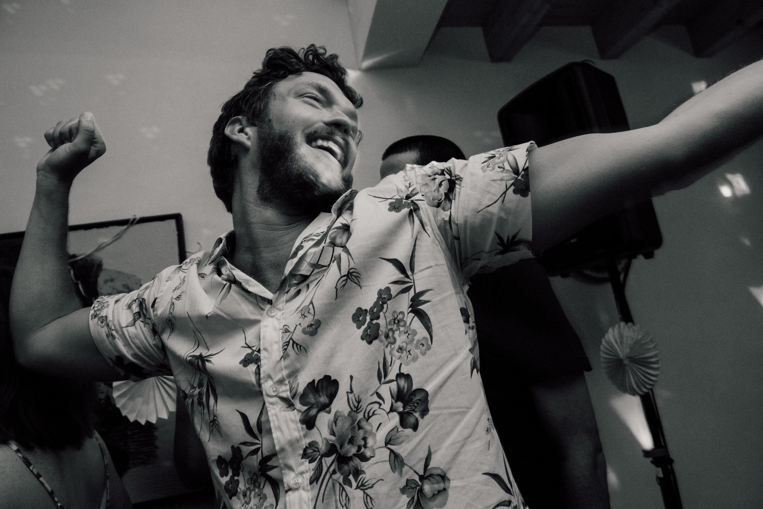 Groom Partying in Hawaiian Shirt
