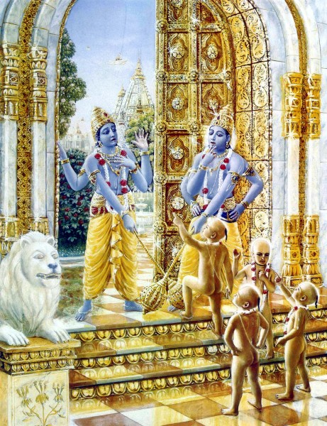 The Kumāras demand entry into Vaikuṇṭha