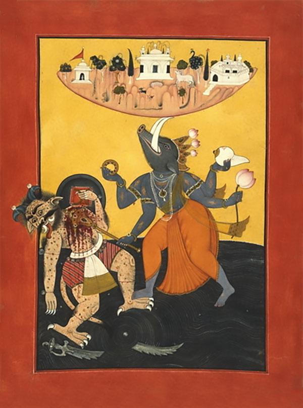 Varāha the boar slays Hiraṇyākṣa and saves the earth from destruction.