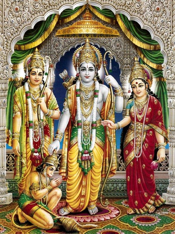 ŚrĪ Rāma, SĪtā, Lakṣmaṇa, and Hanumān.