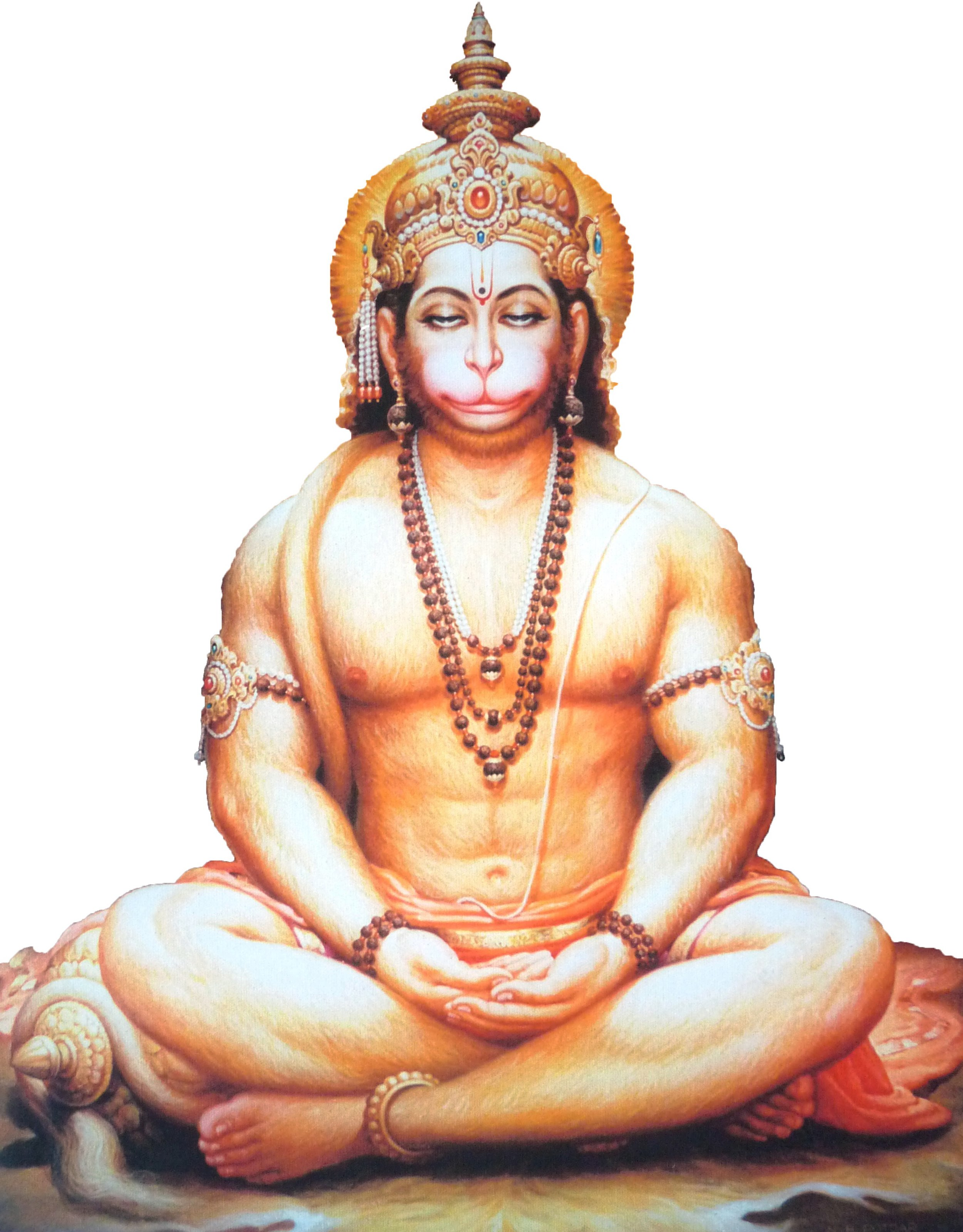 Hanumān, immersed in meditation upon Śrī Rāma.