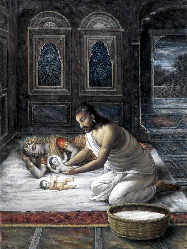 Vasudeva places baby Kṛṣṇa beside Yaśodā