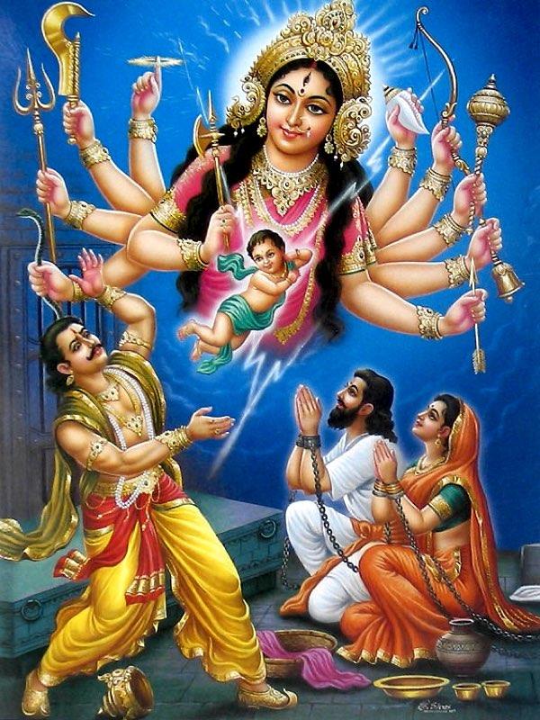 Yogamāyā Devī reveals herself to Kaṃsa