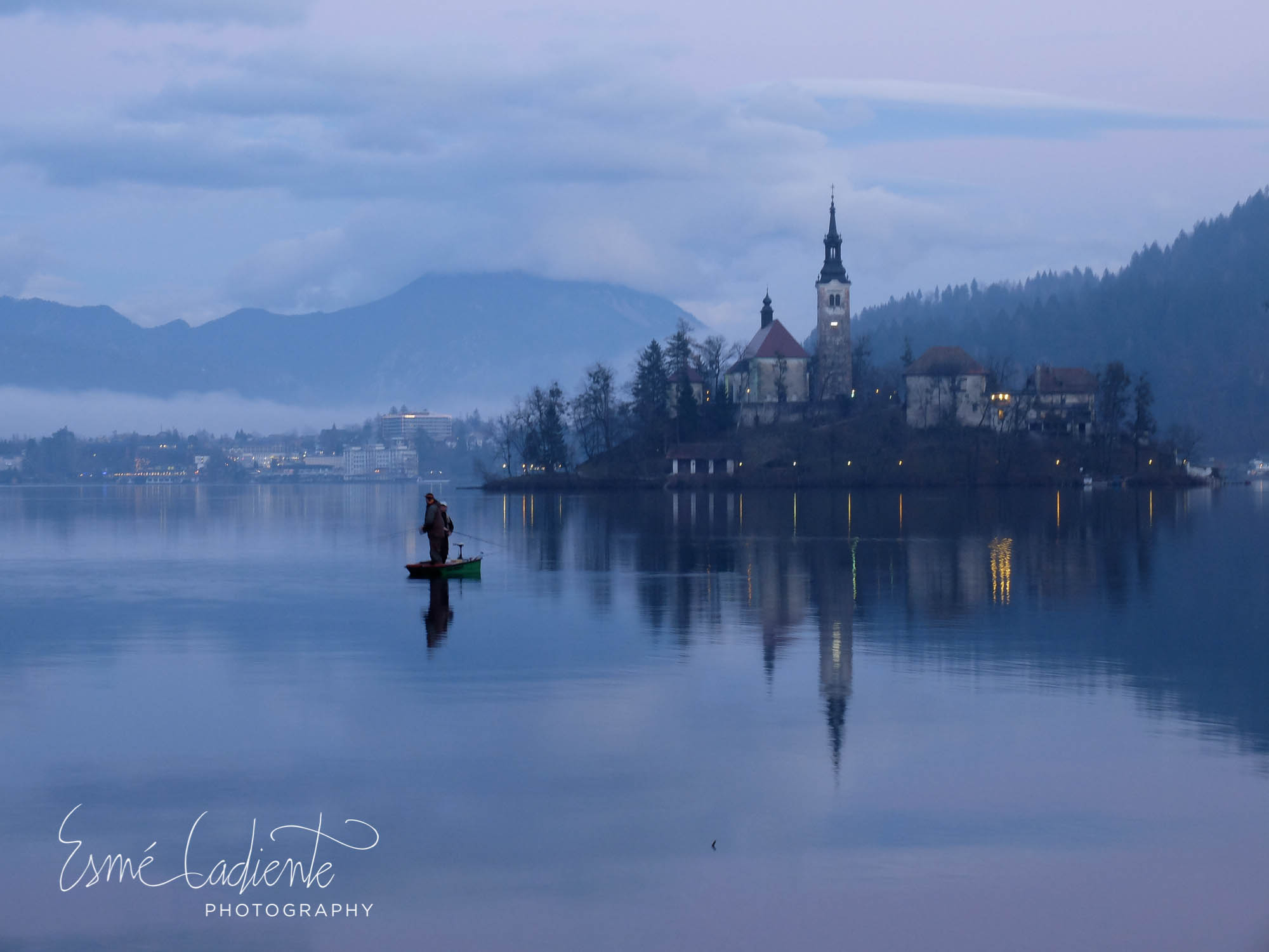 A quiet winter evening on Lake Bled