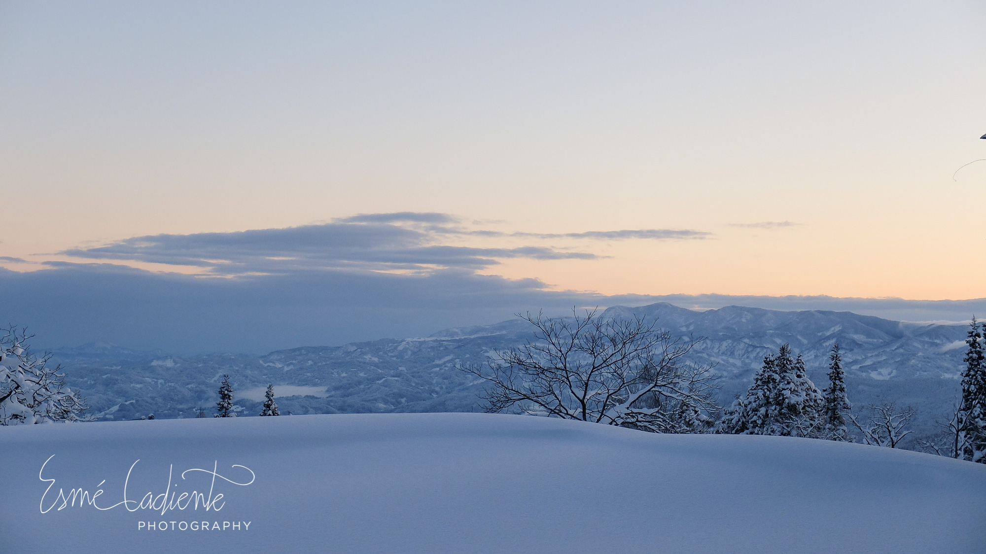Dawn in Myoko Kogen with the Sea of Japan in the distance.