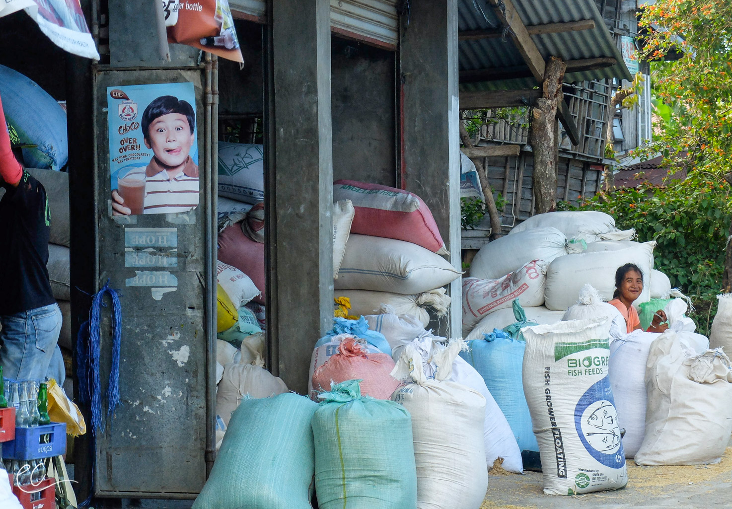 Hulled rice is bagged and then sold or shipped out.