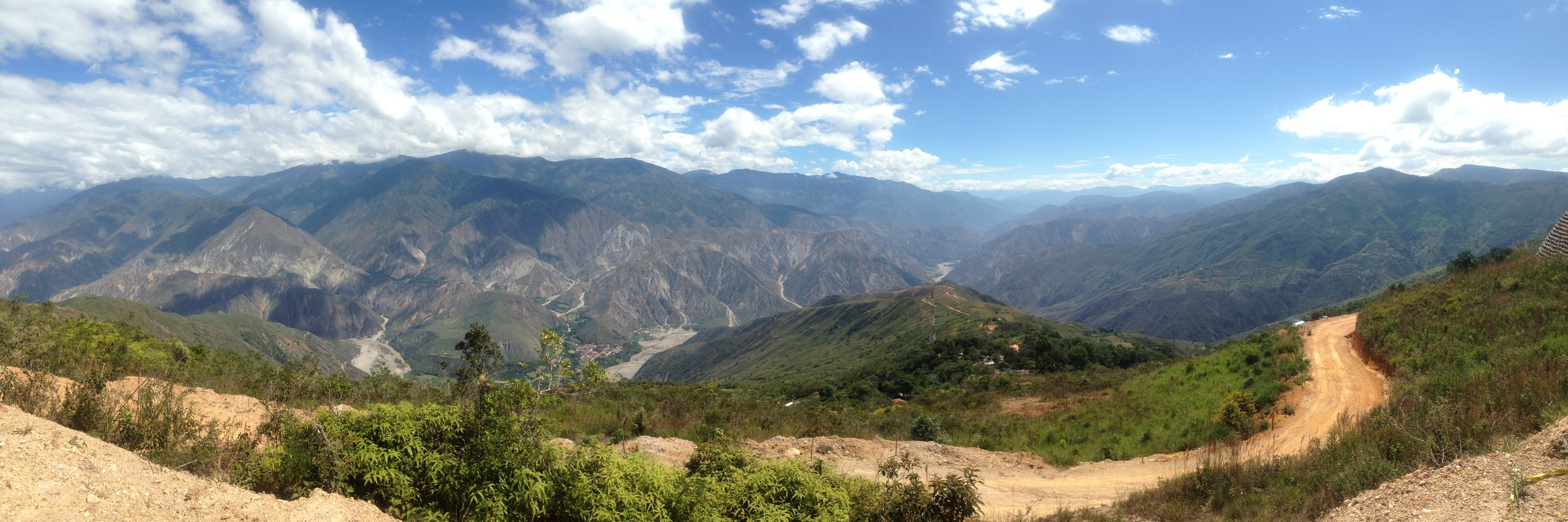 The winding road to Chicamocha Canyon, the second deepest canyon in the world where we went skydiving with Parapente.