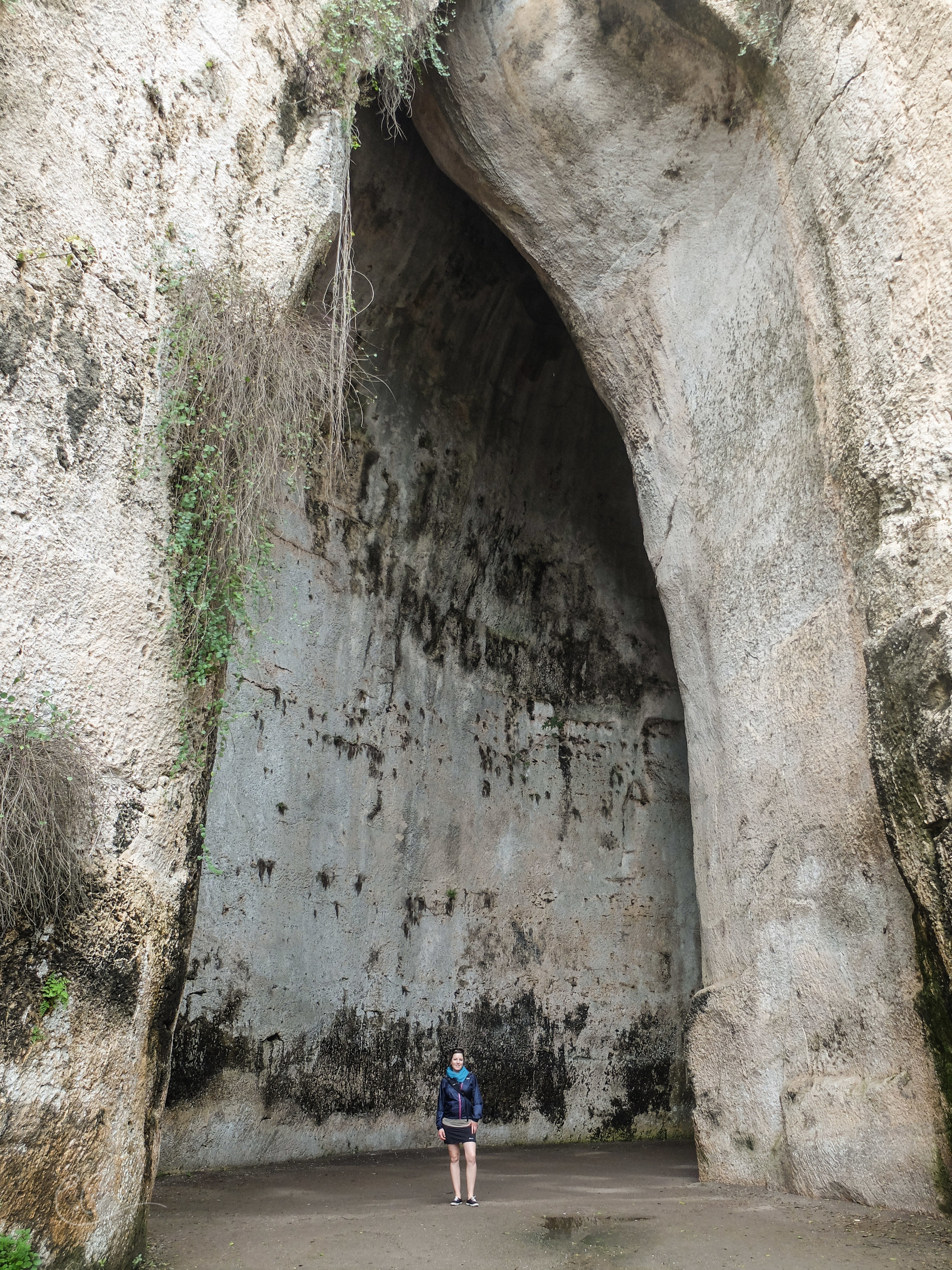 The Ear of Dionysius. Legend goes Dionysius used the cave as a prison and was able to eavesdrop on his prisoners by means of the perfect acoustics in the cave.