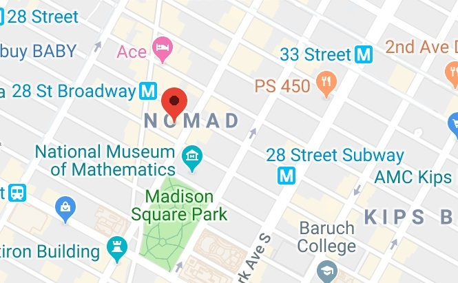Conveniently located in NoMad, just 2 blocks north of Madison Square Park, office is easily accessible via most major train lines, including Penn Station (2/3), Herald Sq (B/D/N/Q), and 28th St R/W and 6.