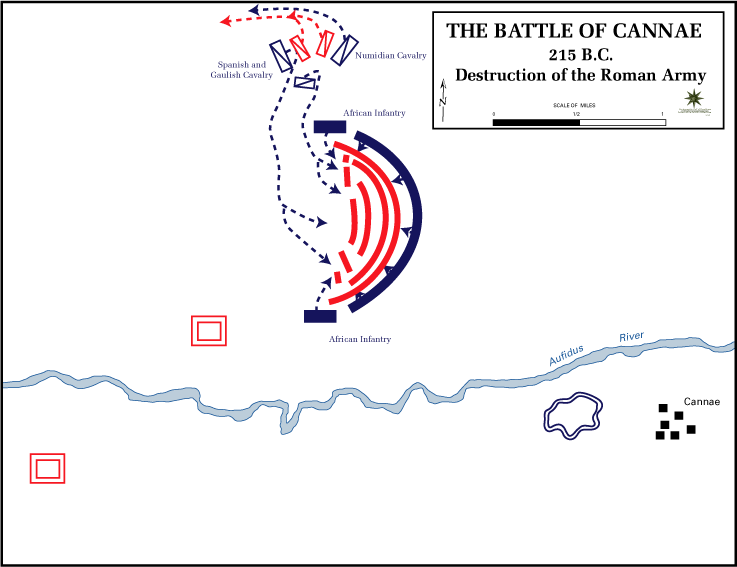 Destruction of the Roman army (red) by Hannibal's forces (blue) at the Battle of Cannae during the Second Punic War, 216 BC.  Source: The Department of History, United States Military Academy