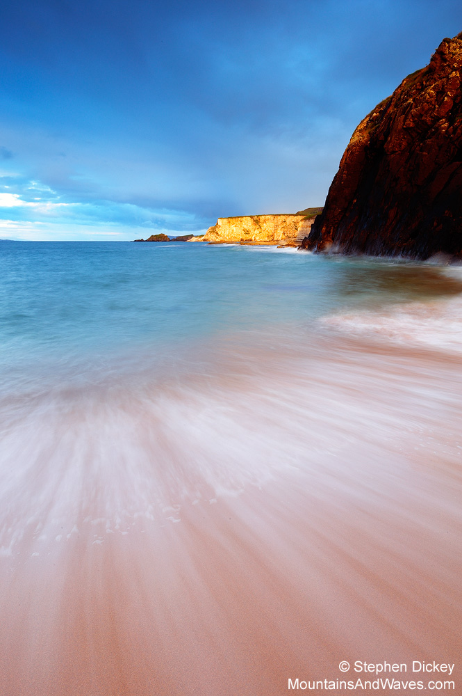 Waves crashing into the beach at Ballintoy - Northern Ireland landscape photography by Stephen Dickey.