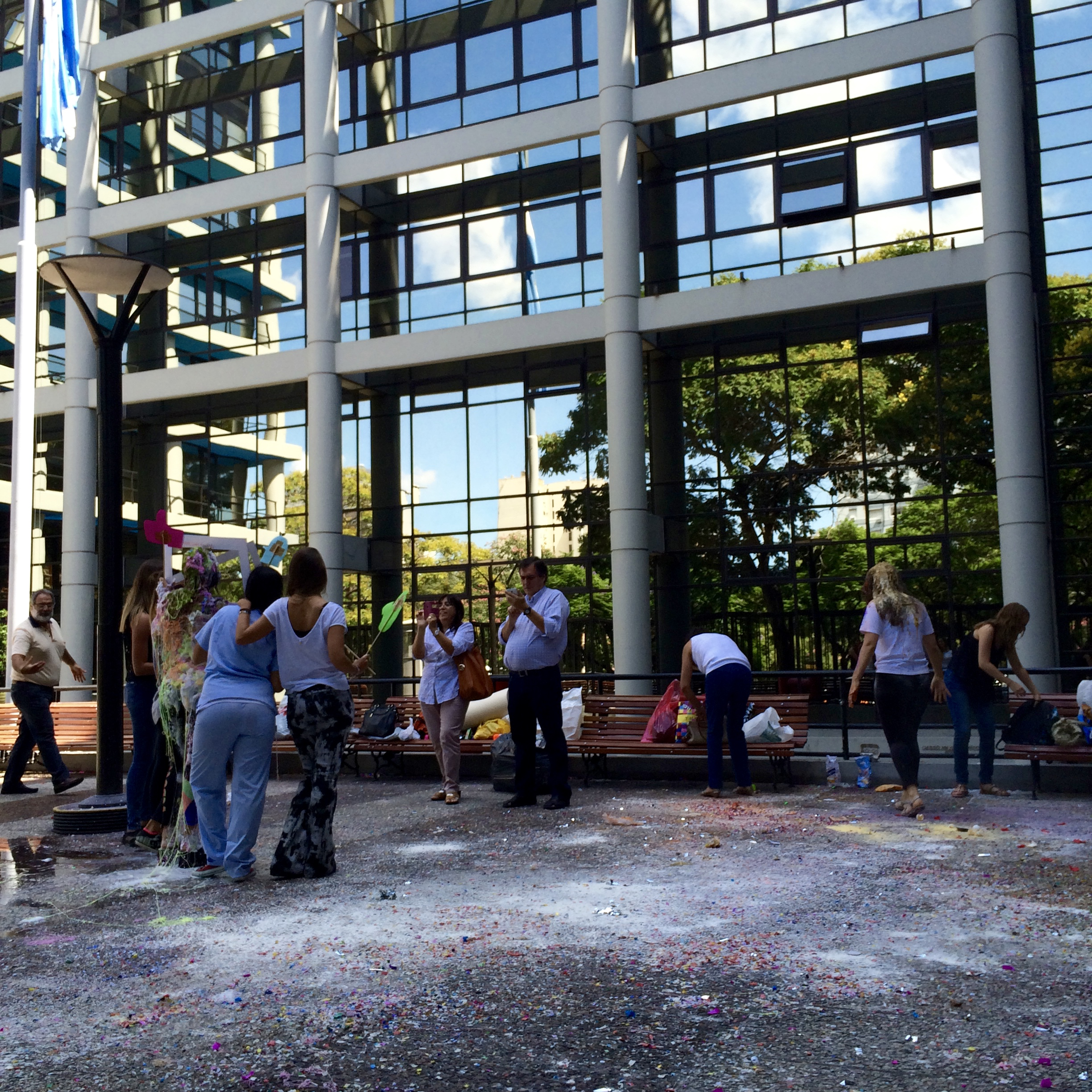 A tradition for graduating students is to celebrate by throwing paint/silly string/RAW EGGS (!) at them in the courtyard. Other than the smell it was sweet!