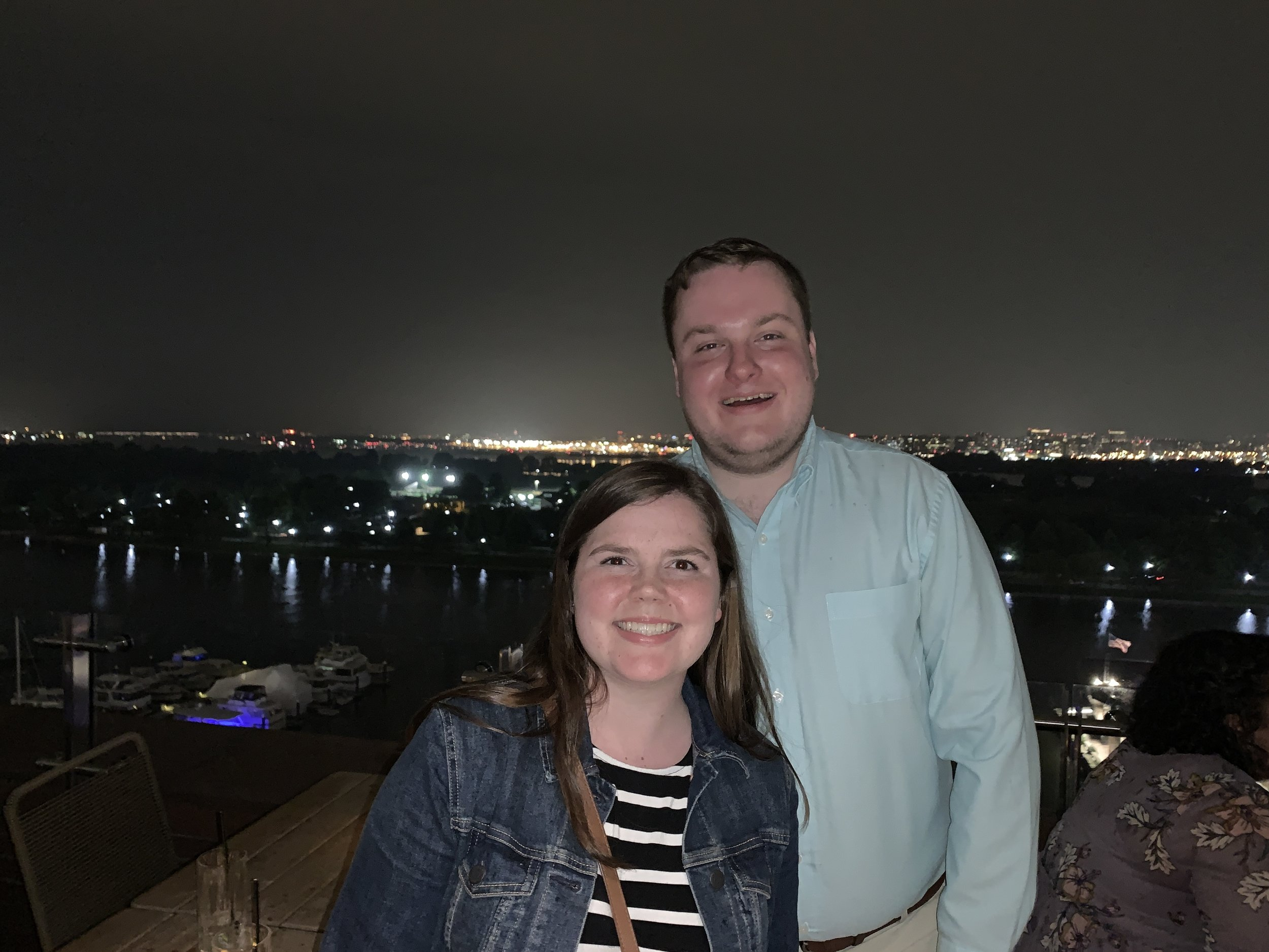 It was an outdoor patio and luckily the rain held off just long enough for us to get this photo :)