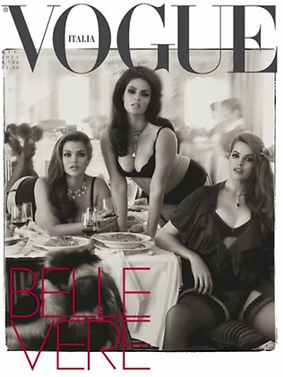 Cover of Italian Vogue June 2011. Models featured here: Tara Lynn, Candice Huffine, Robin Lawley.