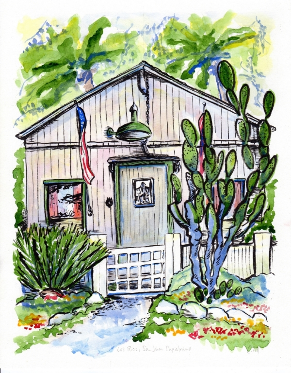 Los Rios Cottage, watercolor and India ink.