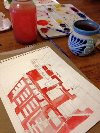 Sunday morning painting and daydreaming about Mexico City.