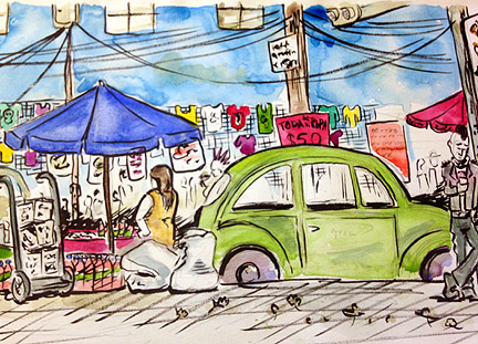 On location sketch at Tianguis Cultural del Chopo in Mexico City. October, 2015.