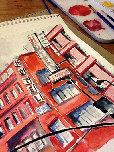 Finishing up today's painting--hotels near the Zocalo in Mexico City.