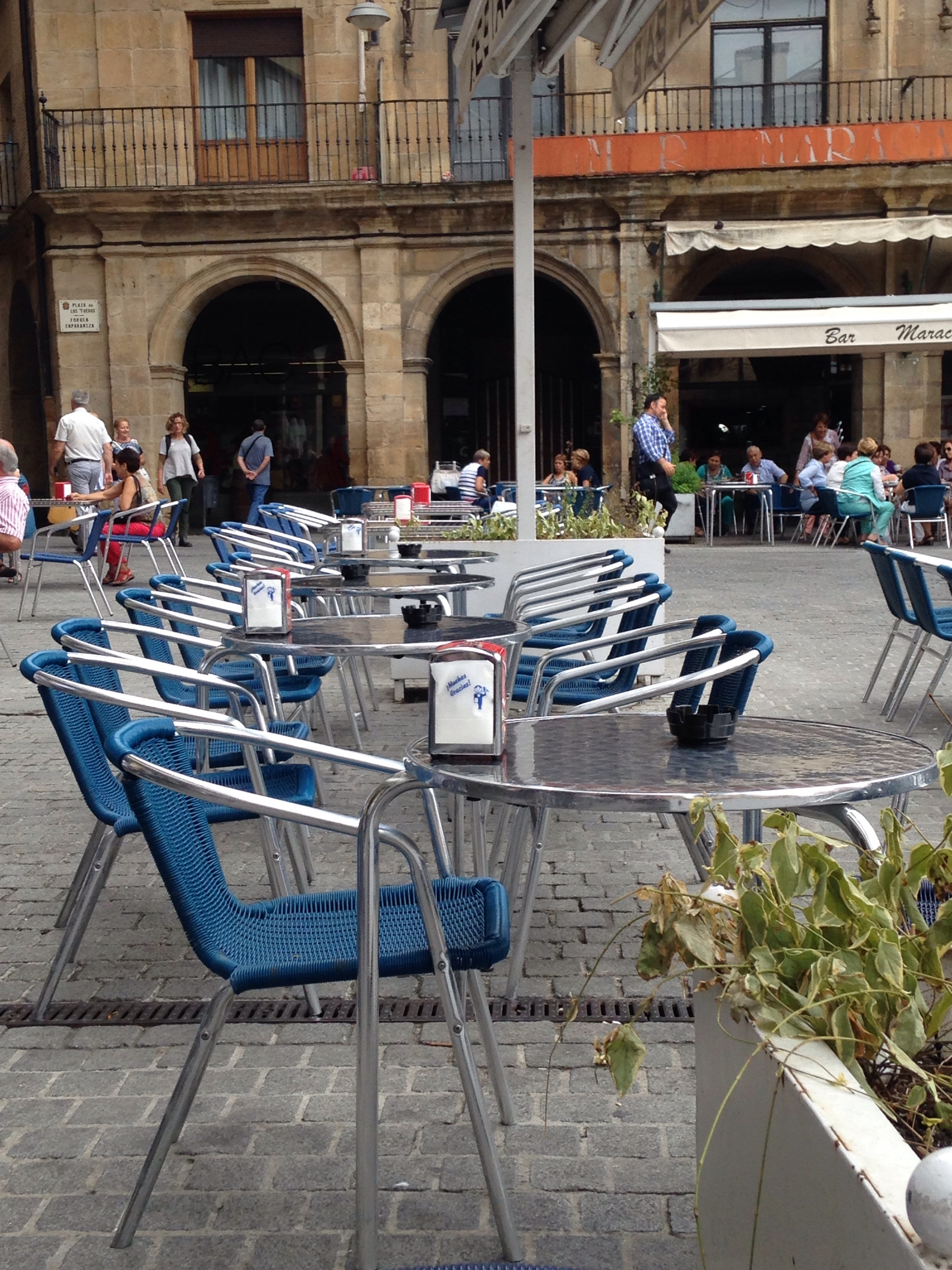 Cafe chairs in Plaza Fueros