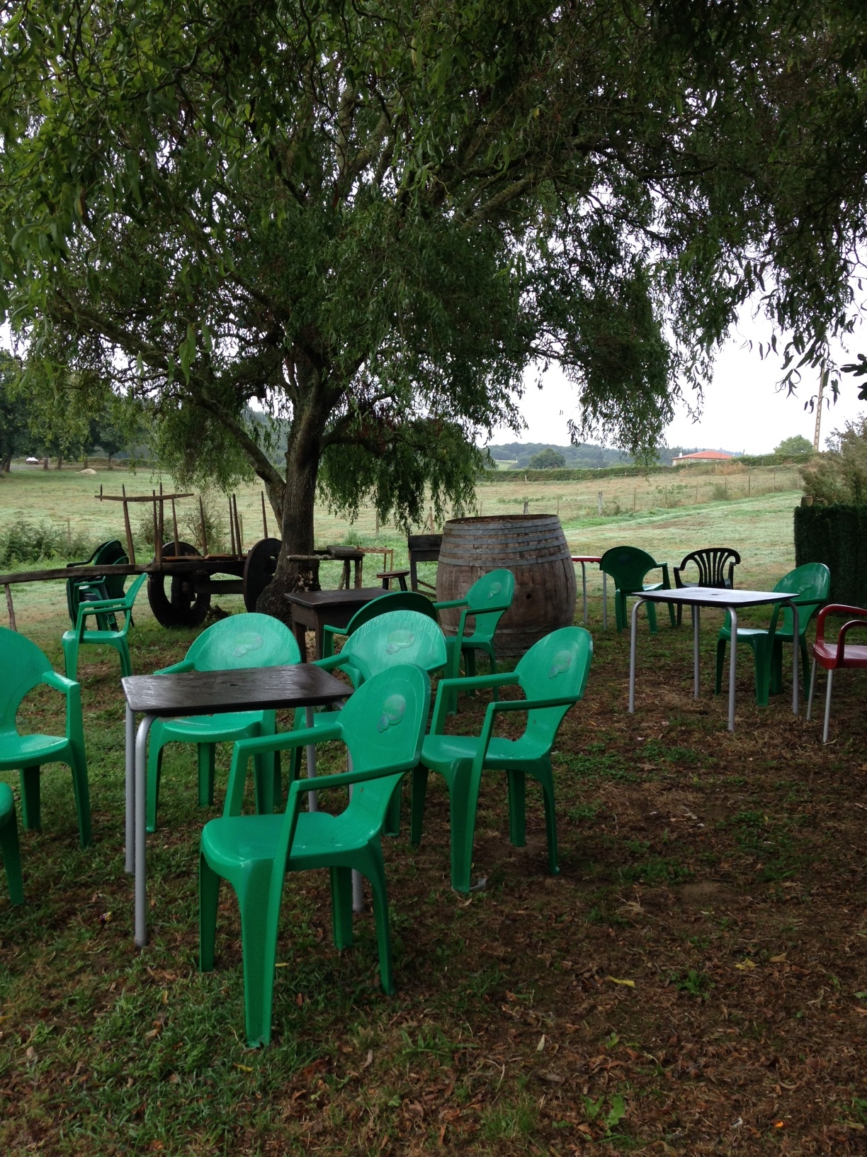 Unpredictable weather = empty cafe chairs.