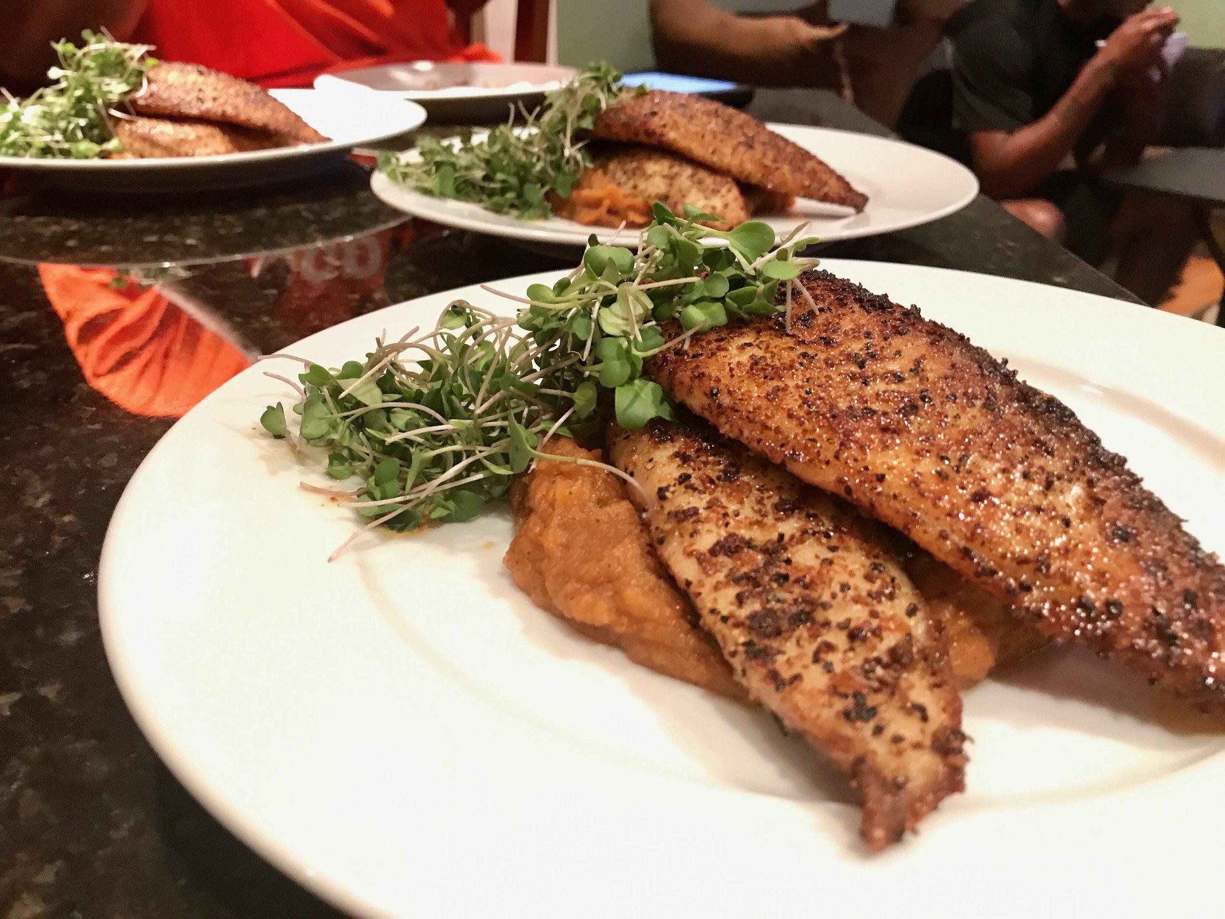 Spicy White Fish. Candied Sweet Potato Mash. Micro Broccoli Greens.