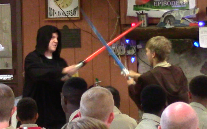 Sith Lord Darth Magus and Jedi Knight Hadron Hastor having a lightsaber deul in the Dining Hall.