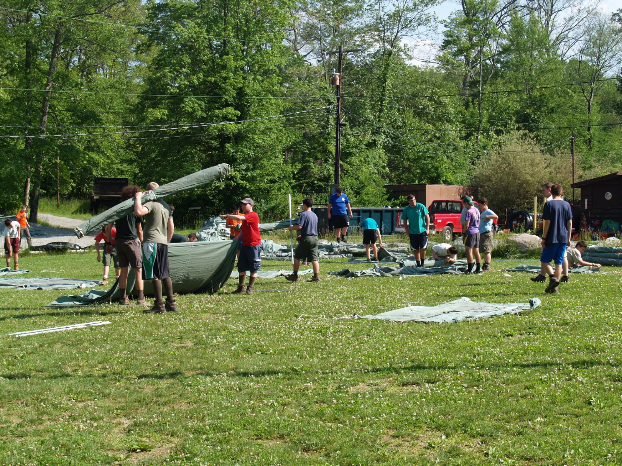 The Staff getting tents ready to go into campsites.