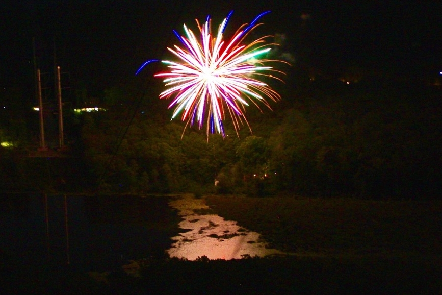 Fireworks explode above the campfire site at the close of another fantastic week at Camp NoBeBoSco.
