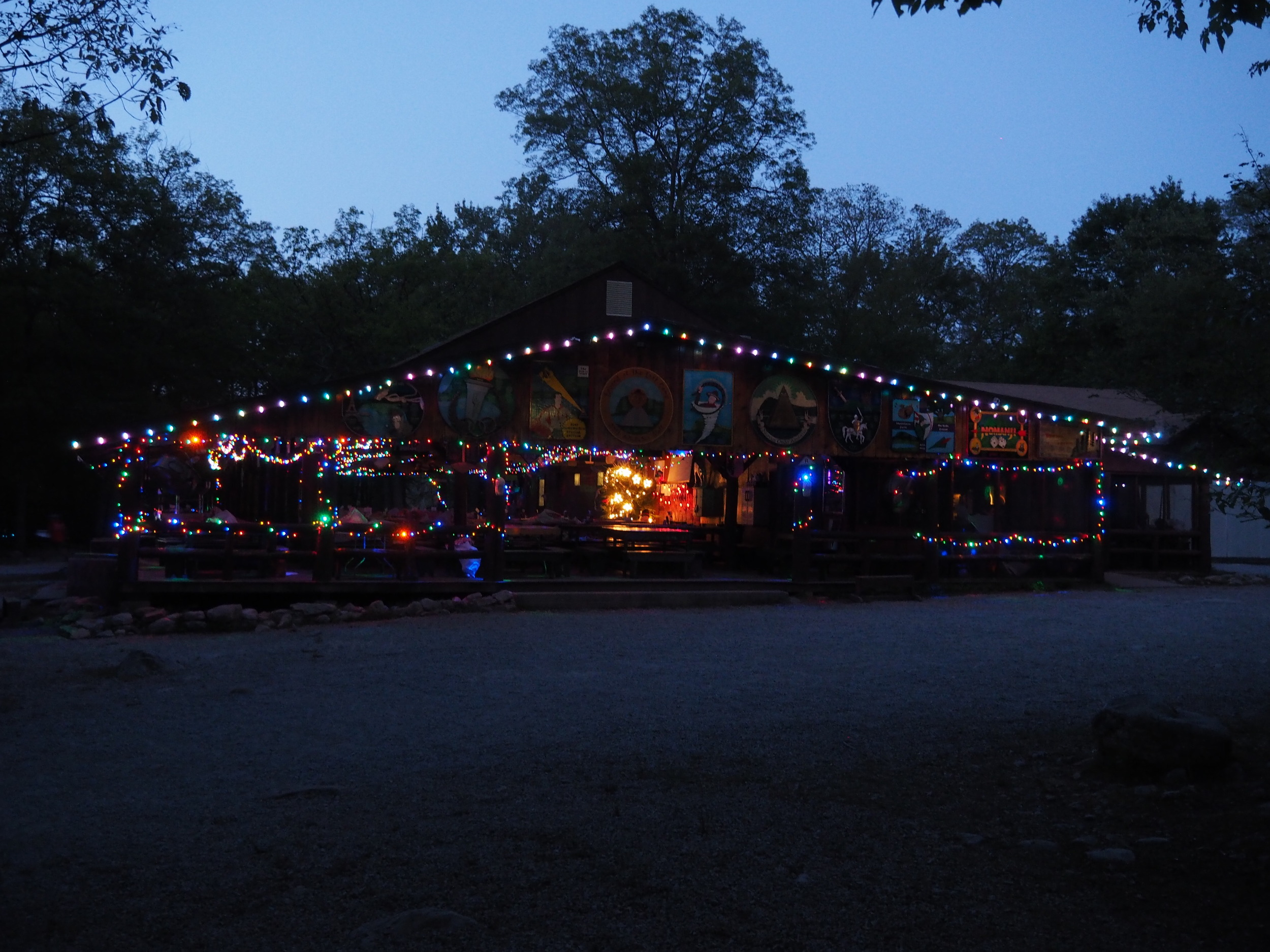 The Dining Hall covered in lights during our Christmas in July celebration.