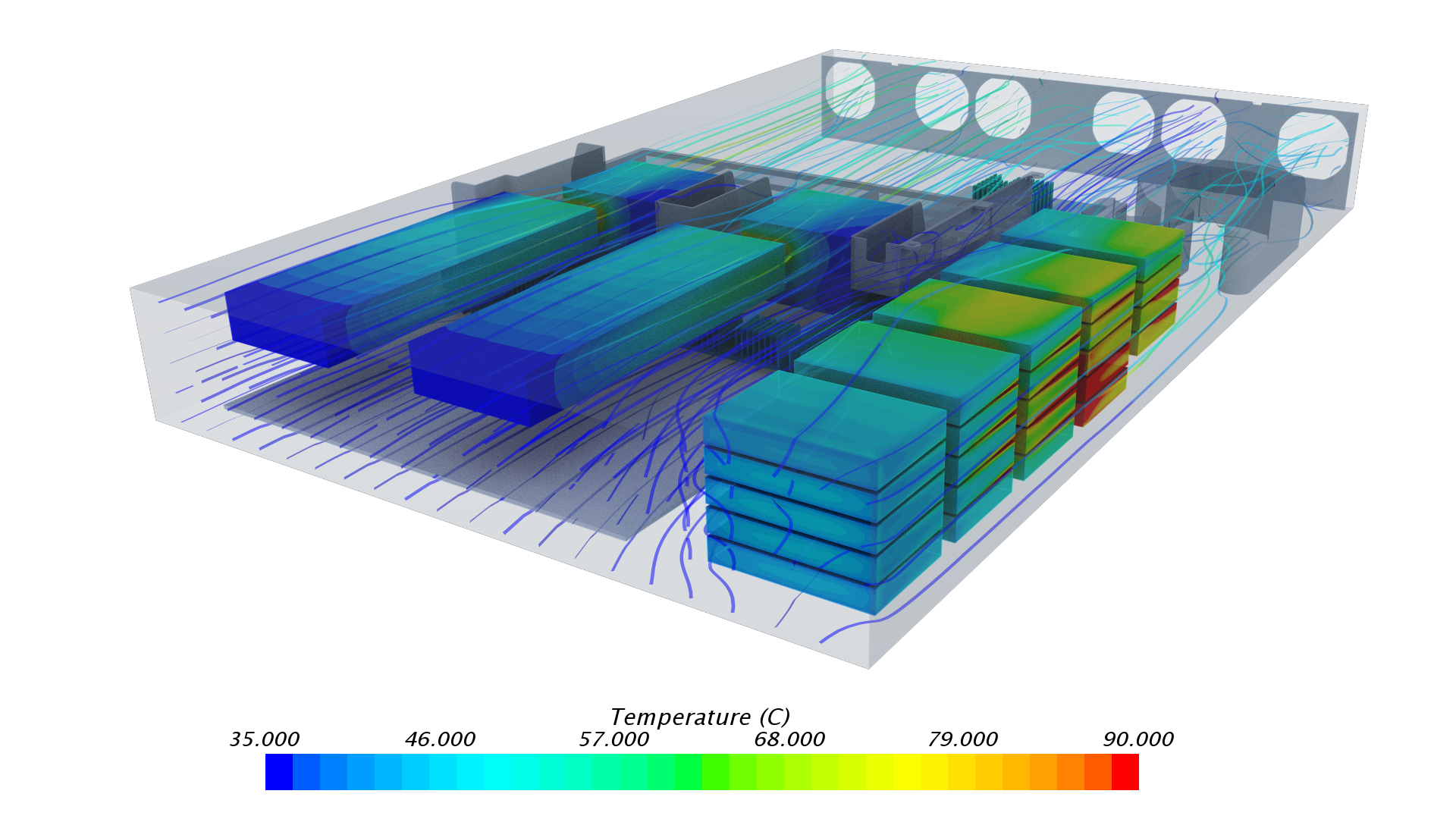 Visualization of Server Component Temperatures as Predicted By CFD Simulation