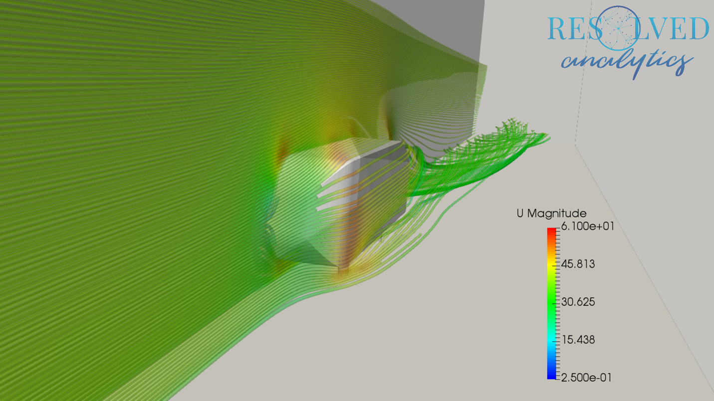 OpenFOAM Ahmed Body Problem Simulation Result - Velocity Contour Plane and Streamlines Visualized in ParaView