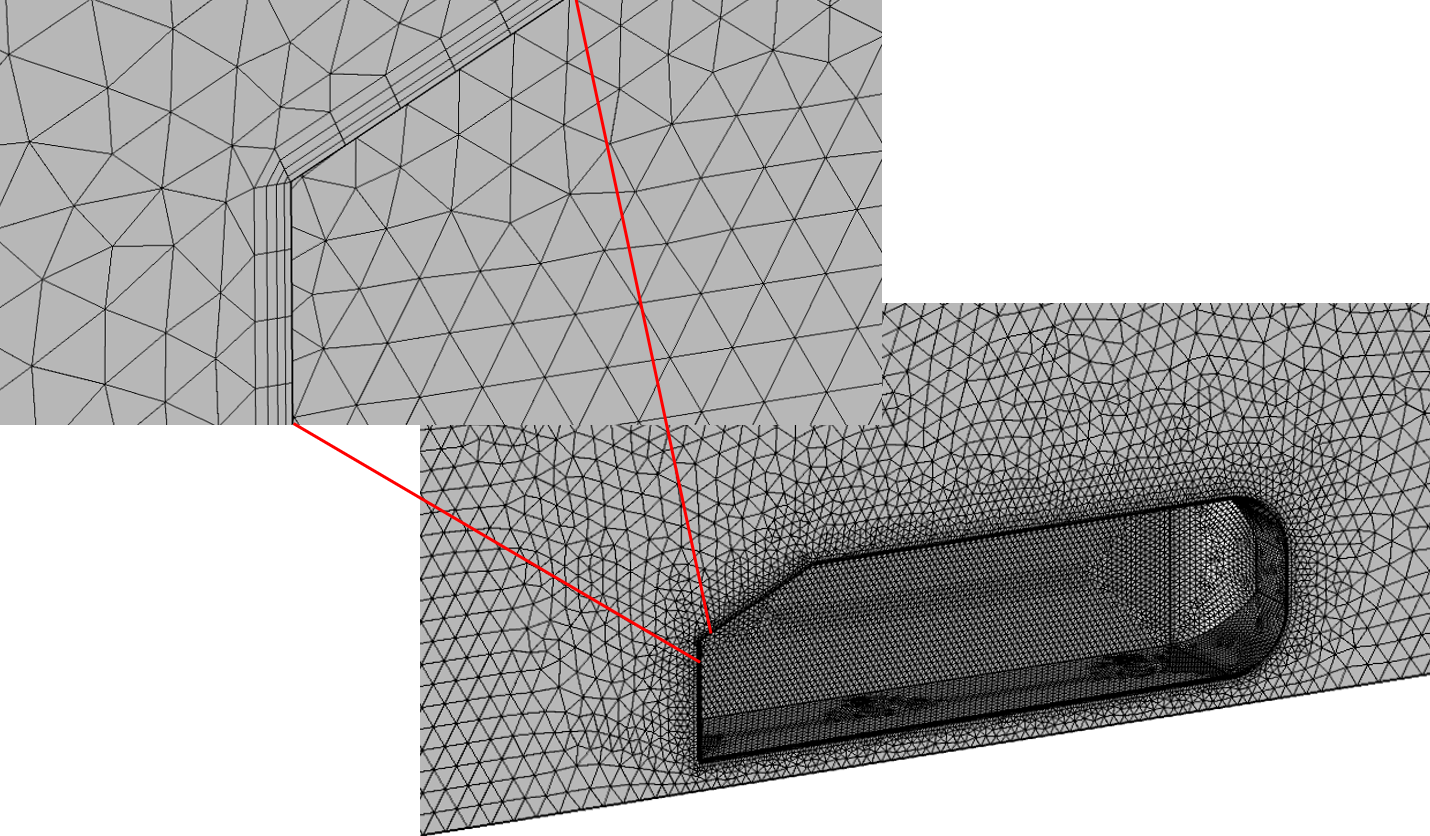 Figure 3: COMSOL Tetrahedral Mesh with Prism Elements in Boundary Layer of Ahmed Body Problem