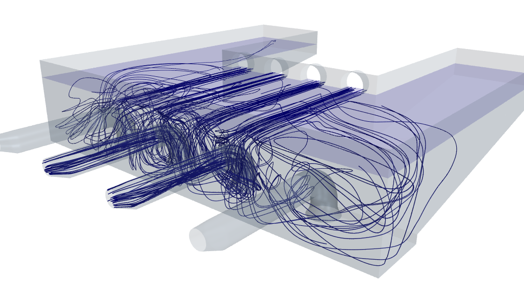 CFD predicted fluid pathlines through a wastewater treatment plant collection tank