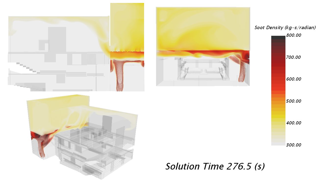 CFD visualization of soot density in an auditorium stage fire scenario