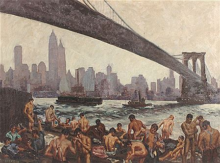 "Edward Casey ""Stevedores Bathing Under Brooklyn Bridge"""