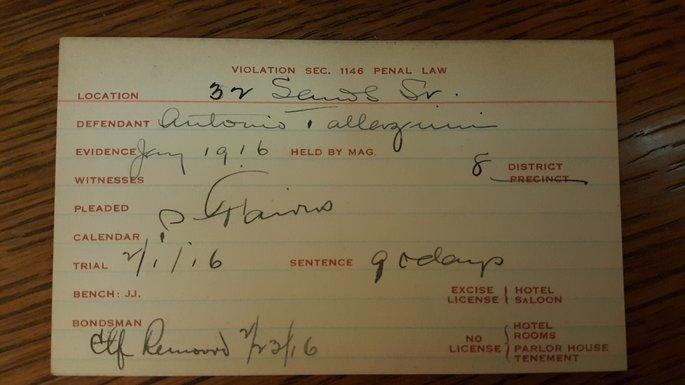 Arrest card for Antonio Bellavicini. Committee of Fourteen records, Manuscripts and Archives Division, The New York Public Library.