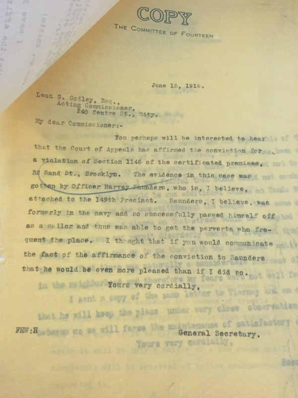 Letter from Frederick Whitten, General Secretary of the Committee of Fourteen, to Leon Godley, Acting Police Commissioner, regarding the arrests at 32 Sands Street. Committee of Fourteen records, Manuscripts and Archives Division, The New York Public Library.