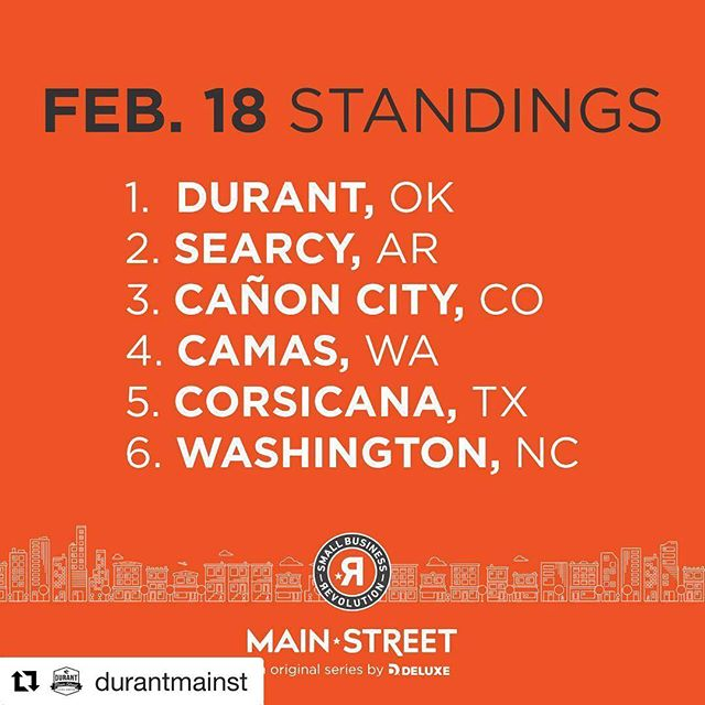 We can do this Durant!  February 19th is the last day to vote!  Durant OK would love your support!  Please take one minute to cast your vote for Durant small businesses!  mydurant.com/vote #mydurant @durantmainst @smallbusinessrevolution