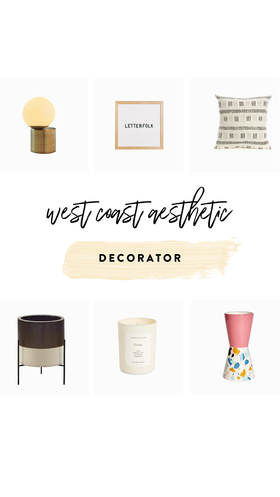 1.   Table Lamp   | 2.   Letterfolk Board   | 3.   Throw Pillow   | 4.   Planter   | 5.   Candle     | 6.   Decorative Vase