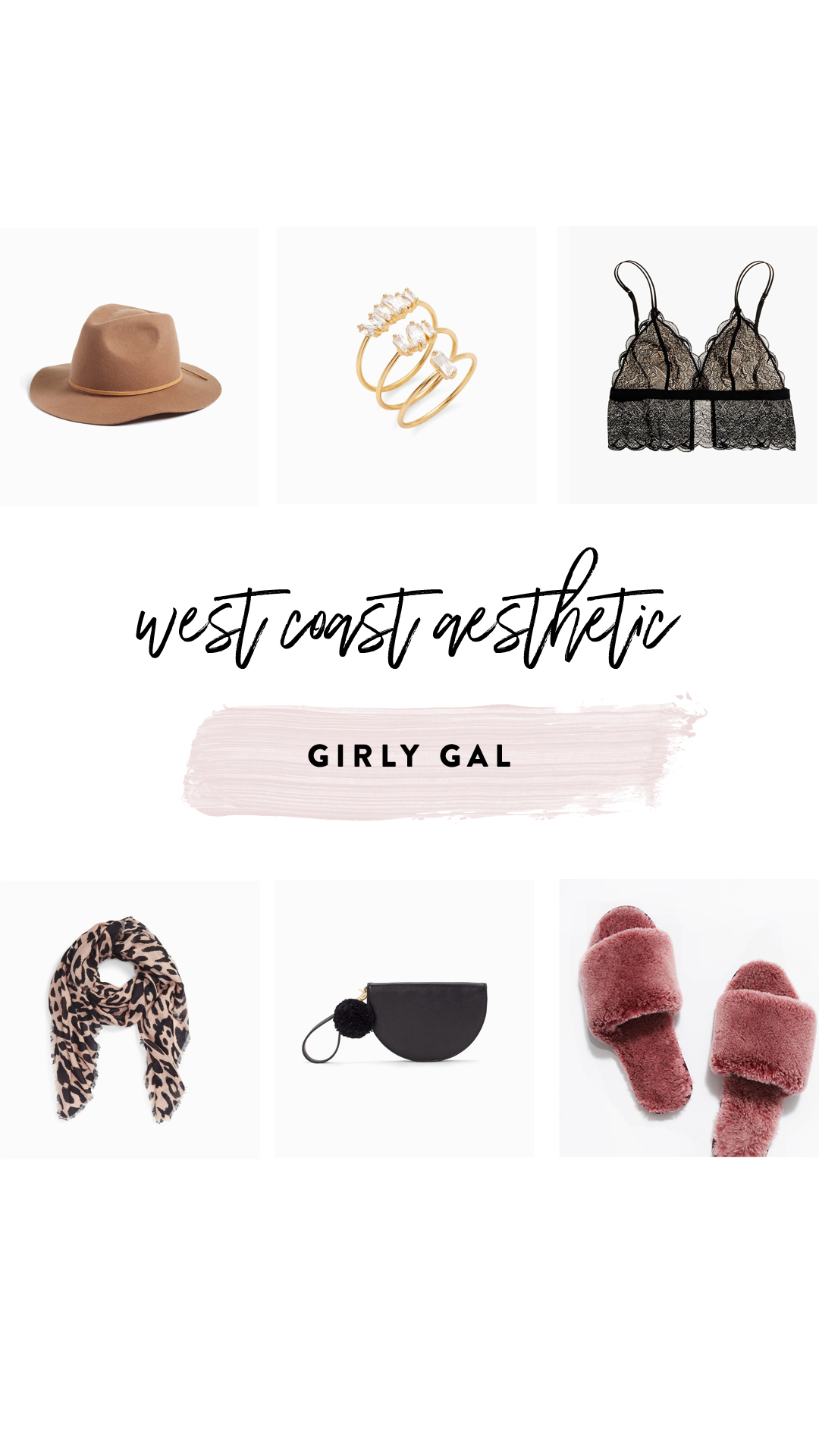 1.   Wool fedora hat   | 2.   Rings   | 3.   Bralette     | 4.   Leopard scarf   | 5.   Wristlet bag     | 6.   Slippers