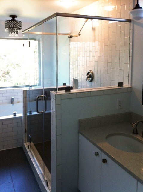 Frameless Shower Enclosures - Double 90-Degree with Header Support