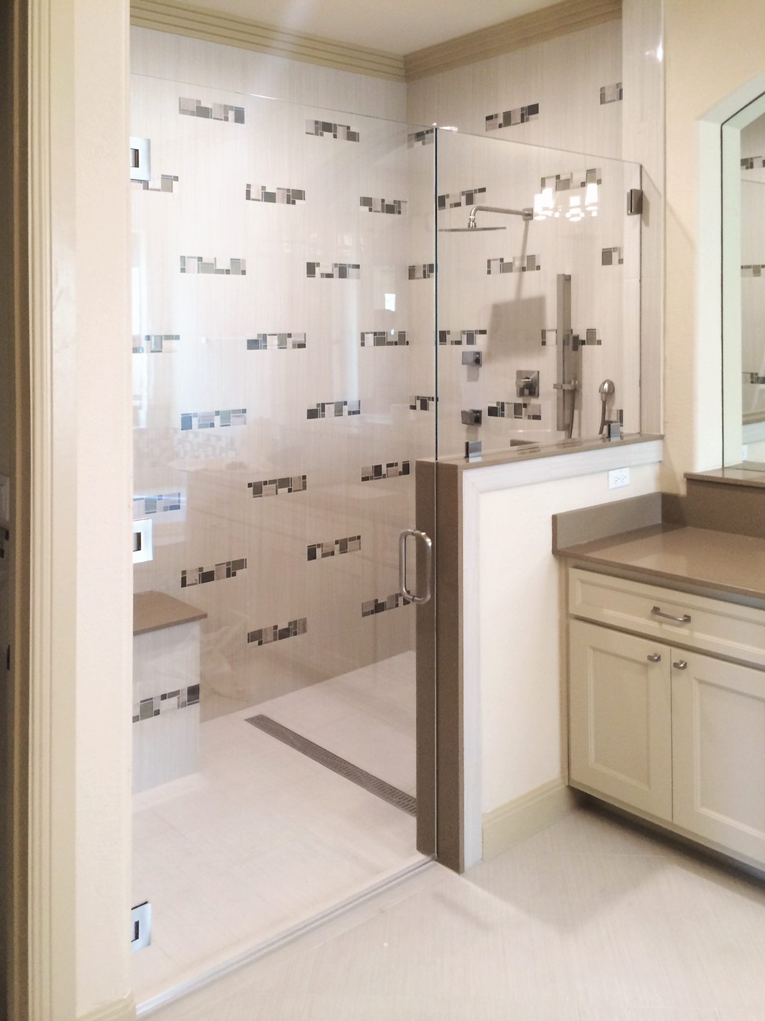 Frameless Inline Shower Enclosure and Door