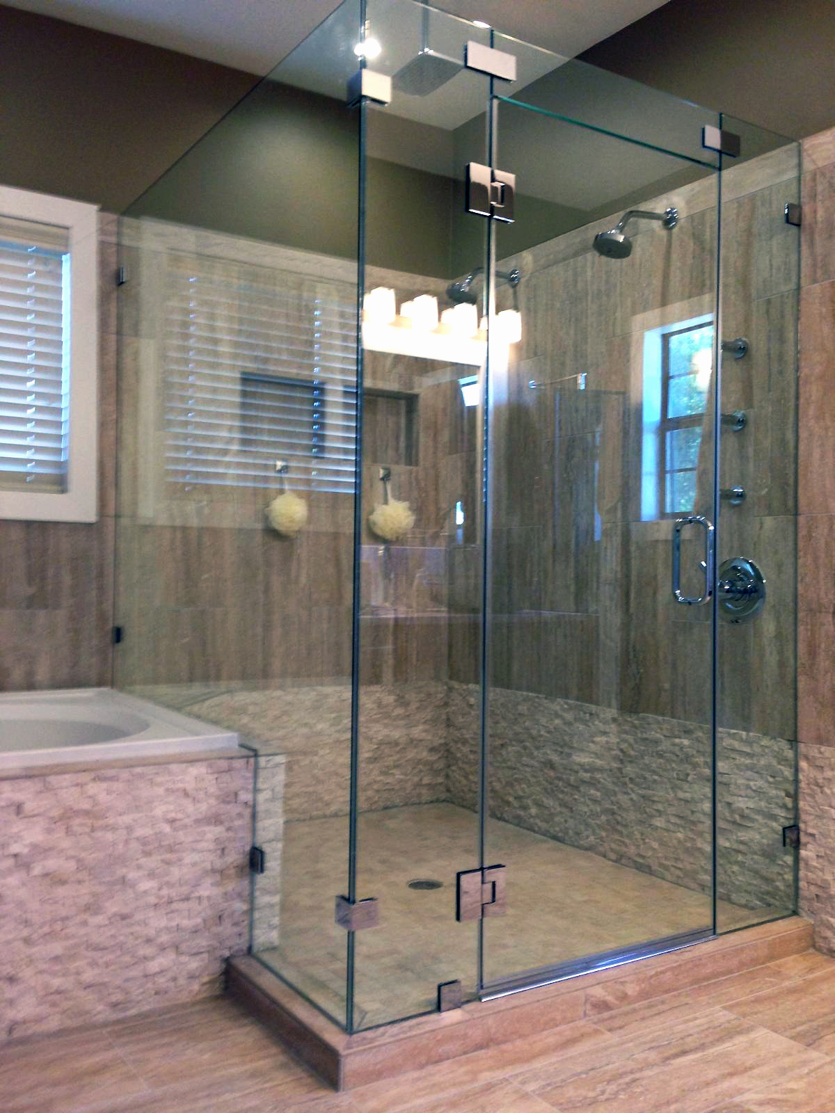Glass Shower Enclosures - 90 Degree with Transom Panel