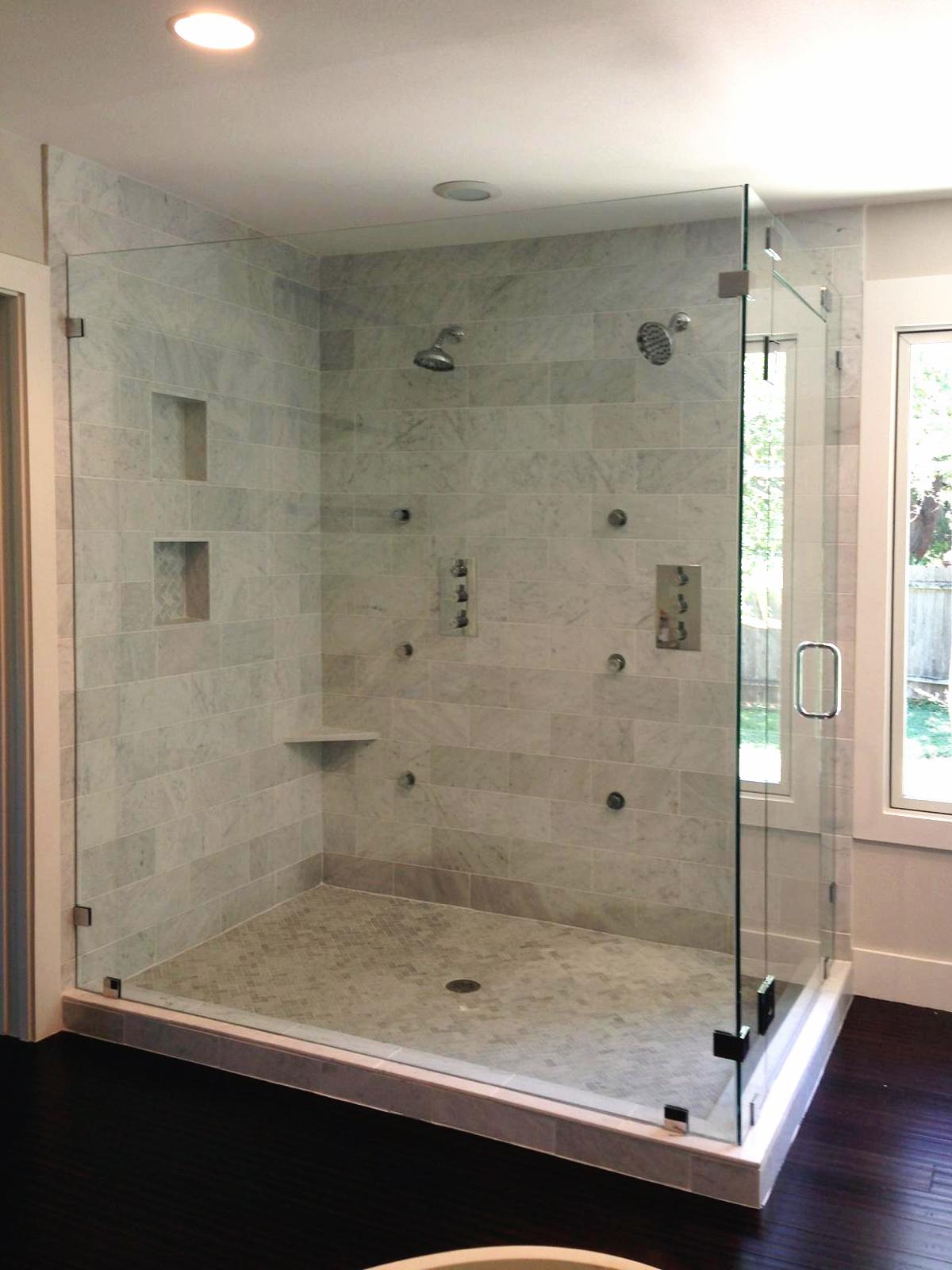 Frameless Shower Doors - Large 90-Degree Enclosure