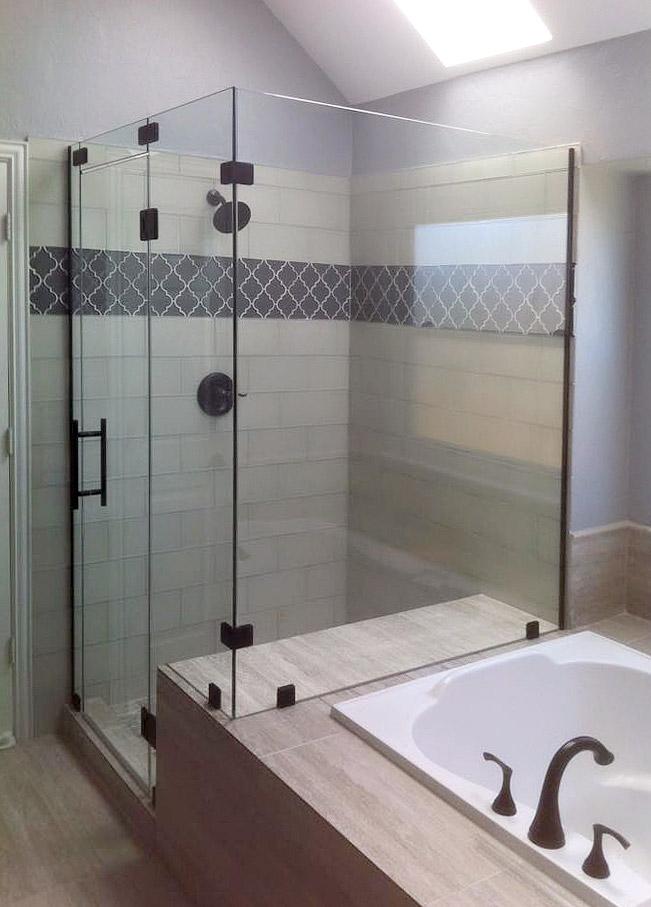 Large, Fully Frameless Shower Enclosure